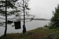 Clothesline facing Big Trout Lake, Algonquin Park
